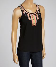 Loving this Valentine Black Beaded Racerback Tank - Women on #zulily! #zulilyfinds