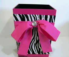 Find This Pin And More On ~Zebra Bedroom Decor~. Wooden Wastebasket Hot Pink  ...