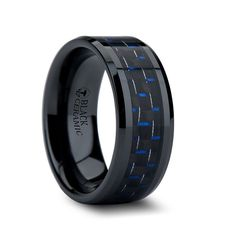 AETHER Black Ceramic Ring with Blue & Black Carbon Fiber Inlay | 4mm, 6mm, 8mm & 10mm