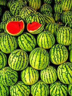 Learn how to grow watermelon in pots. Growing watermelon in containers allow this big, sweet and juicy fruit to grow in smallest of spaces. Fruit And Veg, Fruits And Vegetables, Fresh Fruit, Fruit Food, Citrus Fruits, Juicy Fruit, Tropical Fruits, Shades Of Green, Red Green