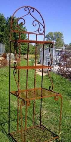 Wrought Iron Narrow Forged Bakers Rack Metal Selving