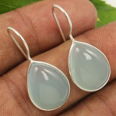 Natural AQUA CHALCEDONY Gemstones 925 Sterling Silver Jewelry Earrings Wholesale #Unbranded #DropDangle