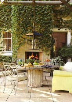 outdoor... yes. please!  The pavers are a nice ideaand the reuse of a cable spool as well by alisha