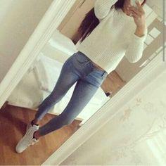 white jeans white air max nike air shoes sweater