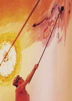 Akira Kurosawa painting on set of Dodes'ka-den (1970)