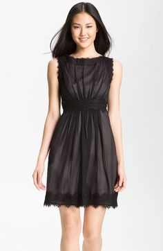 Jill Stuart Gray Silk Chiffon Lace Dress