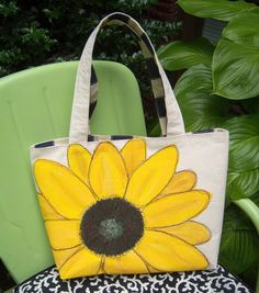Sunflower Tote Bag Hand-painted & Embroidered
