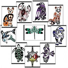 """Webster's Dictionary defines a totem as: """"A natural object, usually an animal that serves as a distinctive, often venerated emblem or symbol, usually a means of personal or spiritual identity."""" These are awesome and could be fun to do! Inuit Kunst, Inuit Art, Kunst Der Aborigines, Celtic, Pole Art, Native American Wisdom, Animal Symbolism, Haida Art, Thinking Day"""