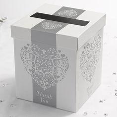 Wedding Post Box White and Silver Vintage Romance