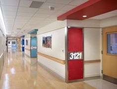 "FCC: Family Centered Care Hospital Project: Great for visual wayfaring: Using bold color as a guide for orientation and accent, the unit maintains a ""playful feel"" with oversized room numbers. Focus on Family Centered Care at addition at Herman & Walter Samuelson Children's Hospital at Sinai Hospital, Baltimore, MD, designed by Hord Coplan Macht, Article in Health Care Design Magazine. Pin and notes by Gail Zahtz"