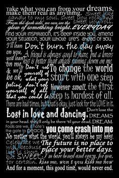Dave Matthews Band Typography Song Lyric Art Print 11 by 14. $30.00, via Etsy.
