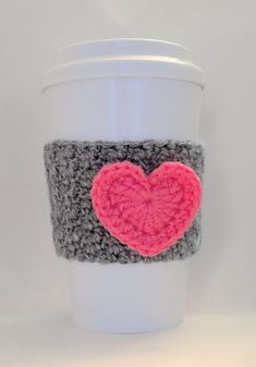 Crochet Heart Coffee Cup Cozy Hot Pink and Heather Gray – Kristy - Crochet Crochet Coffee Cozy, Coffee Cup Cozy, Crochet Cozy, Crochet Gifts, Free Crochet, Coffee Cups, Coffee Cozy Pattern, Crochet Bags, Hot Coffee