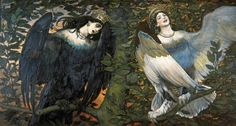 Sirin and Alkonost, birds of joy and sorrow, Victor Vasnetsov, 1836. Sirin is a mythological creature of Russian legends, with the head and chest of a beautiful woman and the body of a bird (usually an owl).