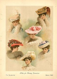 Edwardian Millinery Couture 1903 Fashion Chromolithograph
