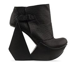 Irregular Choice- PLATFORM CUT OUT WEDGE-BLACK LEATHER