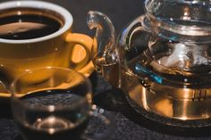 Luqiud Filled Clear Glass Teapot With Cup  Free Stock Photo