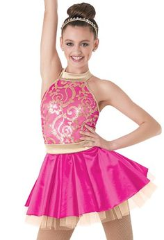 Cheap, Gorgeous, Fun Dance Costumes for all ages from Lai Rupe's choreography CITY LIGHTS 9071 LIPSTICK PINK COLOR
