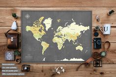 World Travel Map Poster with Pins / Personalized gift / Pin