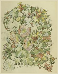DRAWING, TEXTILE DESIGN: HONEYSUCKLE AND HOLLYHOCKS, 1897–98 Drawing. It was designed by Alphonse Maria Mucha. It is dated 1897–98 and we acquired it in 2012. Its medium is brush and watercolor, graphite on dark cream wove paper.