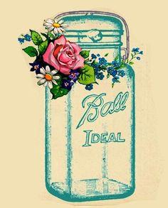 Do nails and thread on old barn wood with fake flowers for aspect Mason Jar Tattoo, Mason Jar Art, Blue Mason Jars, Mason Jar Flowers, Mason Jar Crafts, Fake Flowers, Diy And Crafts, Paper Crafts, Ball Jars
