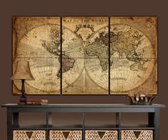 Beautiful Vintage World Map Art, Gallery Wrapped Canvas with vintage colors from circa 1725; Royal Societys of London & Paris. This map set makes a statement on any home or office wall. Beautiful vintage earth-toned canvas set will blend with most decors. Top quality canvas set shown measures an 76 x 40 x 1.5 depth when hung with 2 spacing between panels (Each panel is 24 wide x 40 tall x 1.5 deep). Smaller sizes available (see dropdown menu). Quote shown can easily be replaced. No extra…