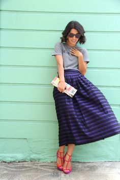 Beautiful midi striped skirt