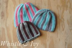 Free Crochet Pattern - Vertical Stripe Baby Beanie. SO easy and customizable for any size and color. The pattern includes instructions for 0-12 months.