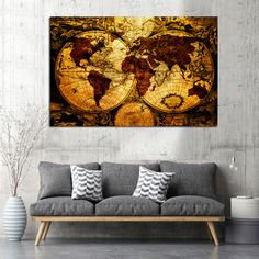 Πίνακας σε καμβά old World map - Ninesix. Old World Maps, Tapestry, Home Decor, Hanging Tapestry, Tapestries, Decoration Home, Room Decor, Home Interior Design, Needlepoint