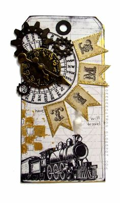 by DeeDee Catron: Have TIME Will Travel {Tag} using UmWowStudio's gear mash chipboard, VLVS! stamps, 7 Dots Studio paper, Ideology, MME alphas and Luminarte Silks Paints