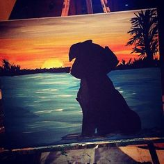 Dog Sunset Painting Silhouette by candenscanvas on Etsy ocean painting acrylic easy Dog Sunset Painting Silhouette von candenscanvas auf Etsy - Merys Stores Night Painting, Art Painting, Animal Canvas, Silhouette Painting, Painting Inspiration, Painting, Cool Paintings, Canvas Art, Sunset Painting