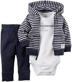 Carter's 3 Piece Cardigan Set (Baby) -  Navy Stripe
