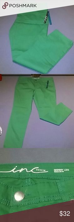 INC Denim jeans NWT green jeans. Wonderful lightweight denium. Tag size 16. Actual waist 18 unstretched. Inseam 28 inches. Literally bought them, put in the closet and now they don't fit :(   My loss is your gain. INC International Concepts Jeans Skinny
