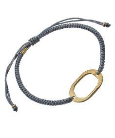 SKU Gold Oval and Grey Cord Bracelet
