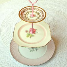Sweet, simple, subtle pink roses tiered tea & cupcake stand with candy-pink…