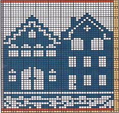 Ravelry: Potholder Houses pattern by Regina Schoenfeldt Filet Crochet Charts, Knitting Charts, Afghan Crochet Patterns, Knitting Stitches, Baby Knitting, Cross Stitch Patterns, Knitting Patterns, Free Knitting, Diy Crafts Knitting