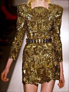254 Balmain gold cocktail dress