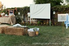 DIY outdoor movie screen (this looks like such a fun idea)