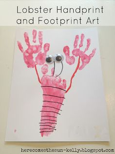 Summer Activities for Kids Series: Lobster Hand and Footprint Art - DIY and Crafts Daycare Crafts, Baby Crafts, Toddler Crafts, Crafts To Do, Preschool Crafts, Kid Crafts, Neon Crafts, Daycare Rooms, Toddler Art
