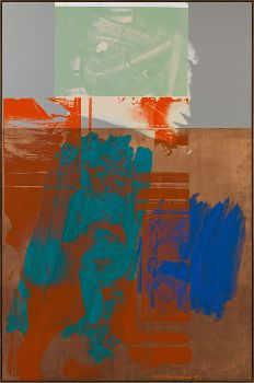 ROBERT RAUSCHENBERG, Aqua Fanfare (Urban Bourbon), 1993, acrylic on copper and mirrored aluminum, 72 13/16 x 48 13/16 inches (184.9 x 124 cm) © The Robert Rauschenberg Foundation 2014/Licensed by VAGA, New York. Photo by Rob McKeever