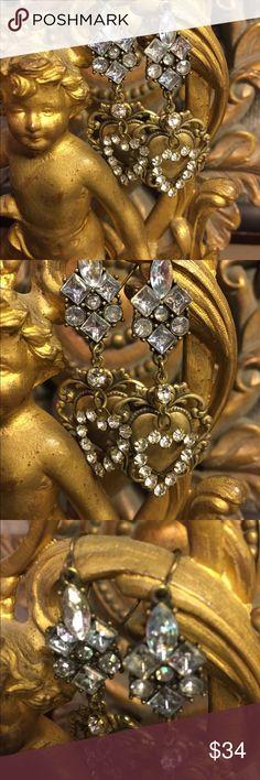 Vintage assemblage rhinestone heart earrings. Vintage assemblage earrings are beautiful. Old Rhinestones,filigree heart. Pierced style. Length measures -3 inches. Vintage ooak. So Romantic. Vintage Jewelry Earrings