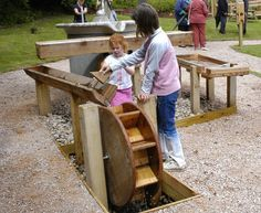 very cool water feature with mill wheel for science-based play in the outdoor classroom