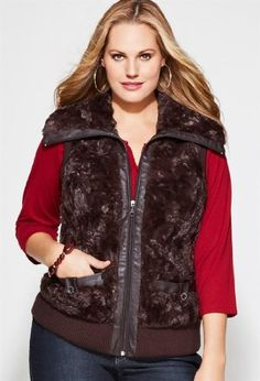 Avenue Plus Size Furry Zip Front Vest Avenue. $32.96