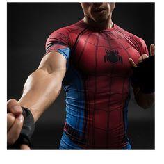 New Captain America 3 Spiderman Tops Male Compression Shirt Civil War T-shirt Short Sleeve Fitness Slim Fit Cosplay T-shirt Captain America, Moda 3d, Superhero Spiderman, Amazing Spiderman, Superman 3d, Crossfit Shorts, Bodybuilding T Shirts, Super Hero Shirts, Compression T Shirt