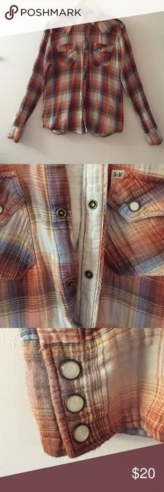 SALT Valley Button Down Western Inspired Shirt Snap closure western inspired SALT Valley Western skirt lightly used. Great colors and perfect for a night out. Cuffs have 3 snap buttons with enamel snaps. 100% Cotton fabric. Salt Valley Western  Shirts Casual Button Down Shirts