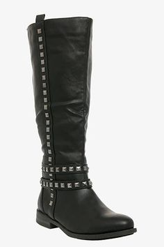Perfect for Wide Calves: Torrid Studded Riding Boots, $68.50 #shoes