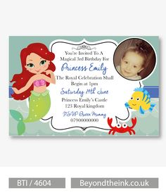 Personalised Little Mermaid Princess Ariel Photo Invitations.  Printed on Professional 300 GSM smooth card with free envelopes & delivery as standard. www.beyondtheink.co.uk