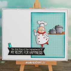 Friendship / Love card I loved this card sketch from MFT and of course this cute chef ;o) You can find more pictures and a list of supplies on my blog. maikreations
