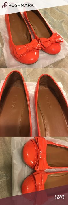 J. Crew neon orange flats J. Crew neon orange flats with a cute bow on the front. Lightly used condition. J. Crew Shoes Flats & Loafers