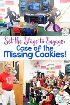 """Set the stage to engage - Case of the Missing Cookies: A Cookie Detective Unit - Flip your classroom into a crime lab as students try to solve the mystery, """"Who Stole the Cookies from the Cookie Jar?"""" Your students will be fully engaged as they solve clue Kindergarten Classroom, Future Classroom, School Classroom, Classroom Themes, Classroom Activities, Classroom Rewards, Elementary Teacher, Elementary Education, Classroom Organization"""