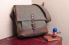 GRAY cross -body bag  Genuine Cow Leather Men's leather bag canvas Bag/ leather canvas Briefcase / Messenger bag / Laptop bag  (130)
